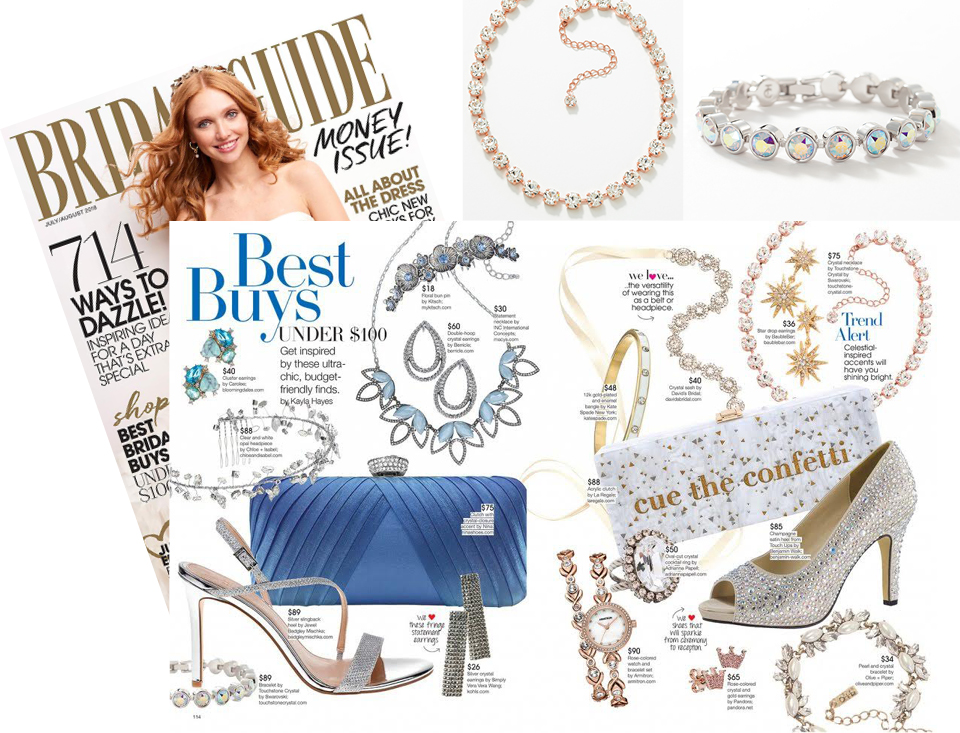 Bridal Guide Magazine featuring Touchstone Crystal Blush Glitz Necklace and Crystal Aurora Boreale Ice Bracelet