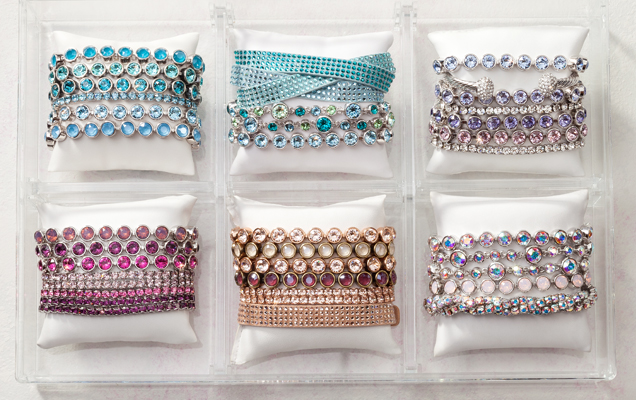 Six sets of colorful bracelet stacks